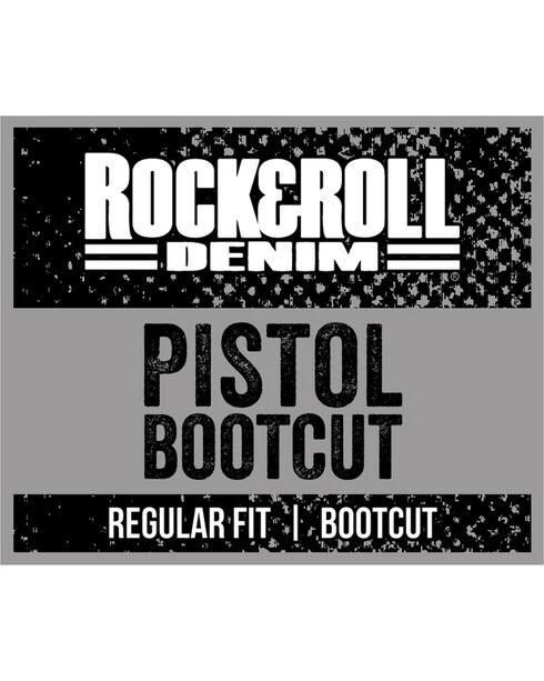 Rock & Roll Cowboy Men's Dark Wash Pistol Boot Cut Jeans, Indigo, hi-res