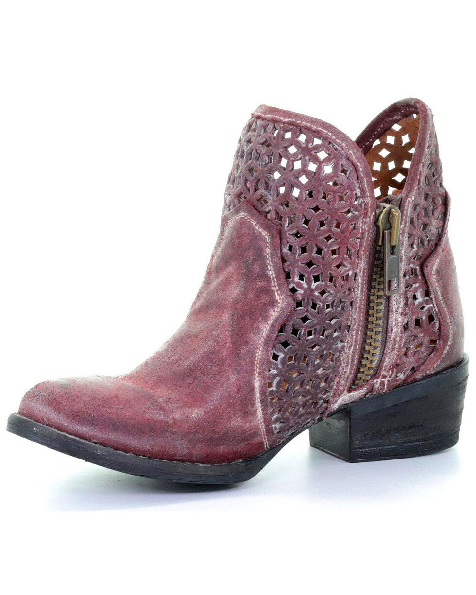 Circle G by Corral Women's Wine Cutout Shortie Boots - Round Toe , Wine, hi-res