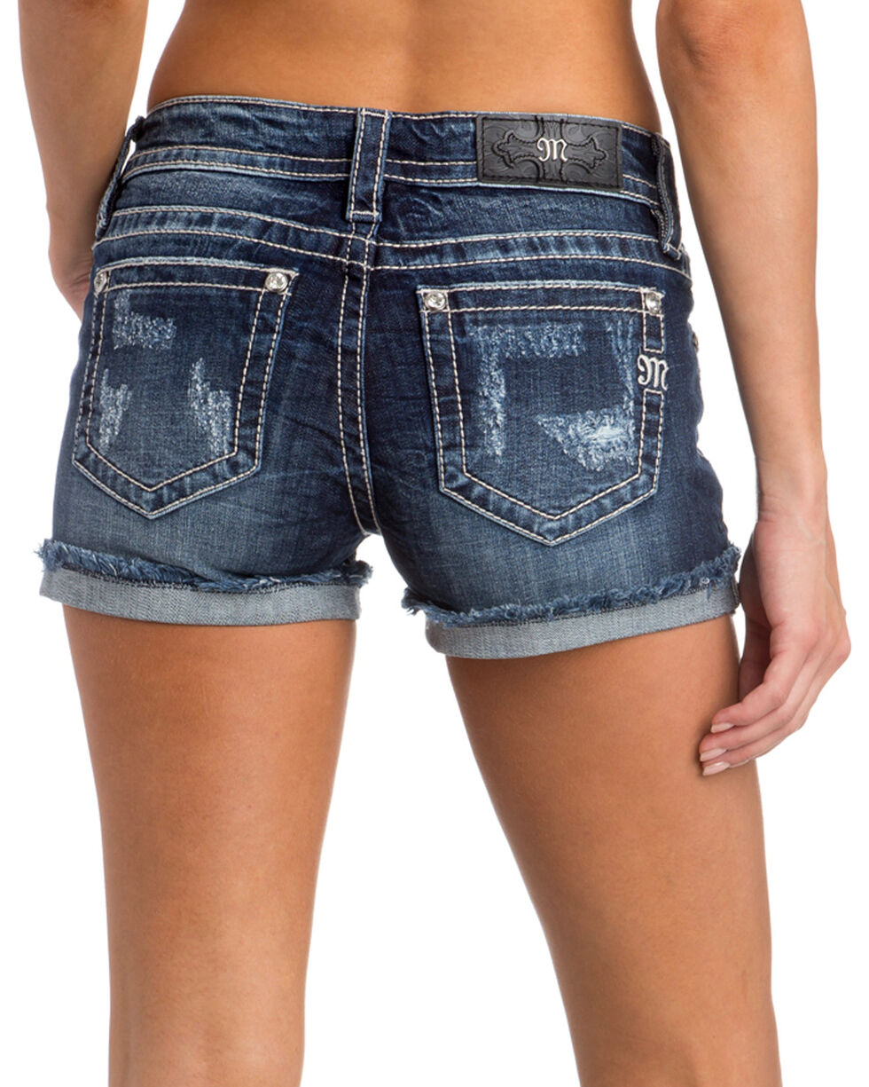 Miss Me Women's All Mine Mid-Rise Shorts, Indigo, hi-res