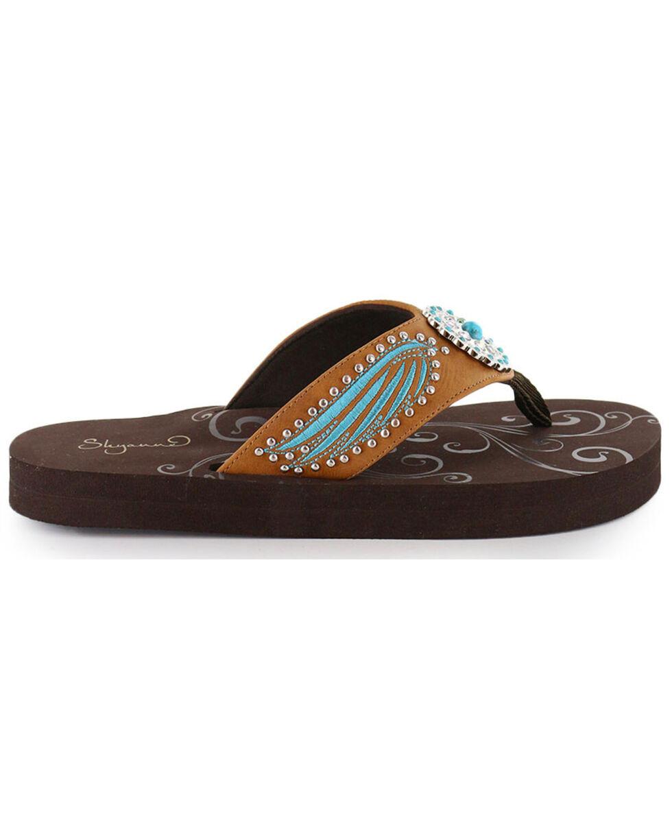Shyanne® Women's Wing & Concho Sandals, Brown, hi-res