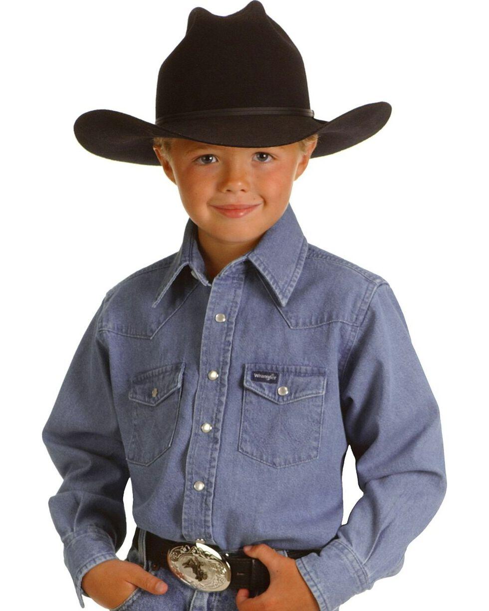 Wrangler Boys' Denim Shirt - 2-20, Stonewash, hi-res