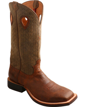 Twisted X Men's Basketweave Western Boots, Brown, hi-res