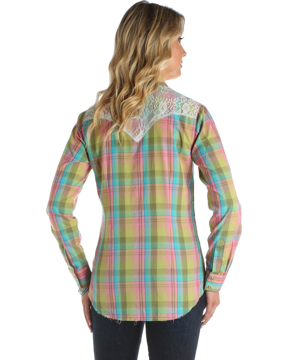 Wrangler Women's Plaid Lace Long Sleeve Western Snap Shirt, Multi, hi-res