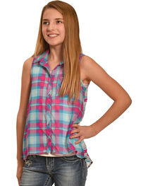 Derek Heart Girls' Blue Sleeveless Hi Lo Button Down Shirt, , hi-res