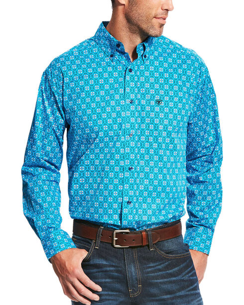 Ariat Men's Aqua Laketon Print Long Sleeve Shirt - Tall, Aqua, hi-res