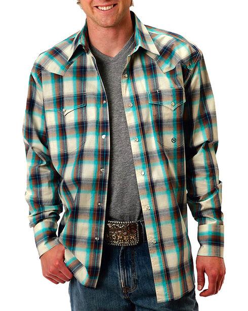 Roper Men's Plaid Long Sleeve Shirt, Cream, hi-res