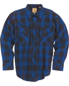 Resistol Men's Blue Marshallville Plaid Long Sleeve Shirt , Blue, hi-res