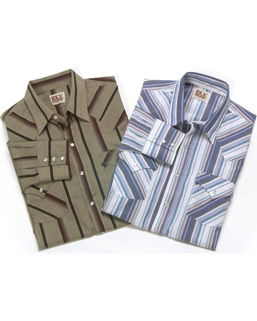 Ely Cattleman Men's Assorted Plaid Western Shirt, Stripe, hi-res