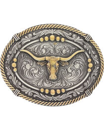 Montana Silversmiths Men's Silver Two Tone Longhorn Steer Belt Buckle , , hi-res
