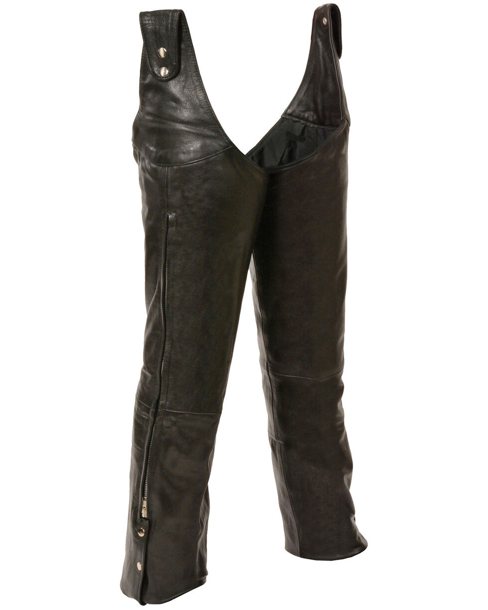 Milwaukee Leather Men's Adjustable Side Snap Beltless Chaps - 4X, Black, hi-res