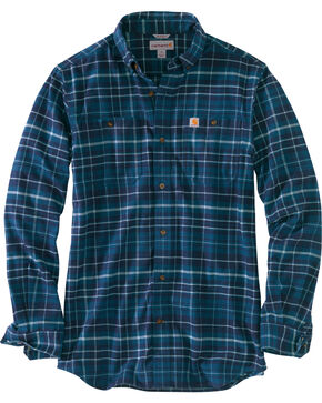 Carhartt Men's Trumbull Plaid Shirt - Tall , Medium Blue, hi-res