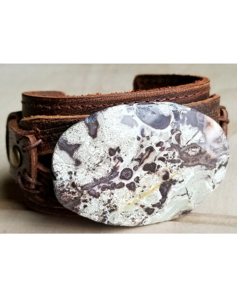 Jewelry Junkie Women's Brown Ocean Agate Leather Cuff , Brown, hi-res