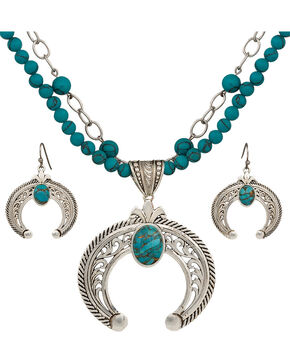 Montana Silversmiths Turquoise Squash Blossom Jewelry Set, Silver, hi-res