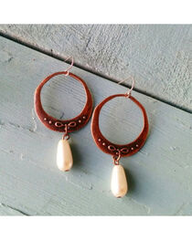 Jewelry Junkie Copper & Pearl Dangle Earrings, , hi-res