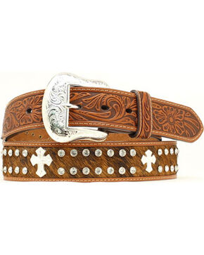 Hair-on Hide Rhinestone & Cross Concho Embossed Leather Belt, Tan, hi-res