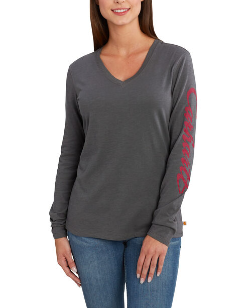 Carhartt Women's Wellton Graphic Sleeve V-Neck T-Shirt , Grey, hi-res