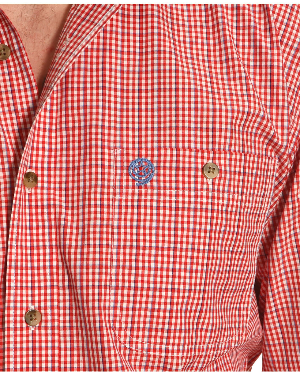 Wrangler George Strait Red/White Plaid Long Sleeve Shirt, Red, hi-res
