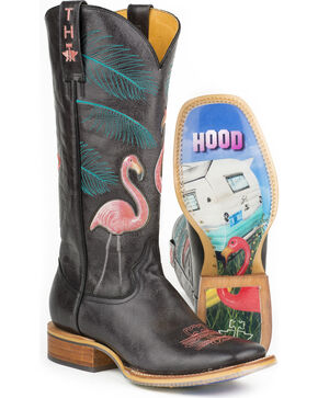 Tin Haul Women's Flamingo Western Boots, Black, hi-res