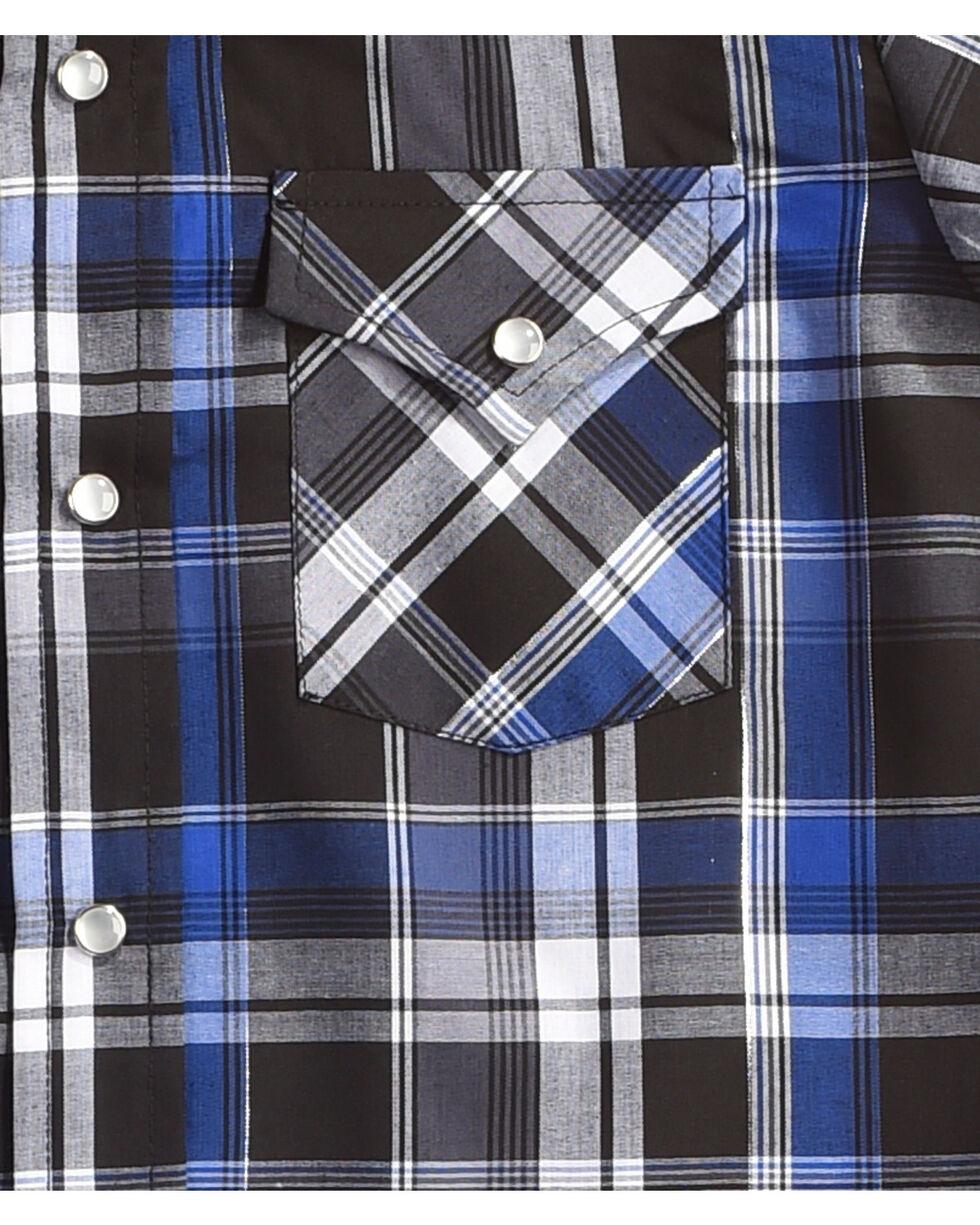 Ely Cattleman Boys' Blue Long Sleeve Lurex Plaid Snap Shirt, Indigo, hi-res