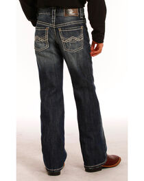 Rock & Roll Denim Boys' Dark Wash Abstract Embroidered Jeans - Boot Cut , , hi-res