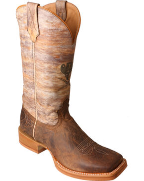 Twisted X Men's Skull Square Toe Western Boots, Brown, hi-res
