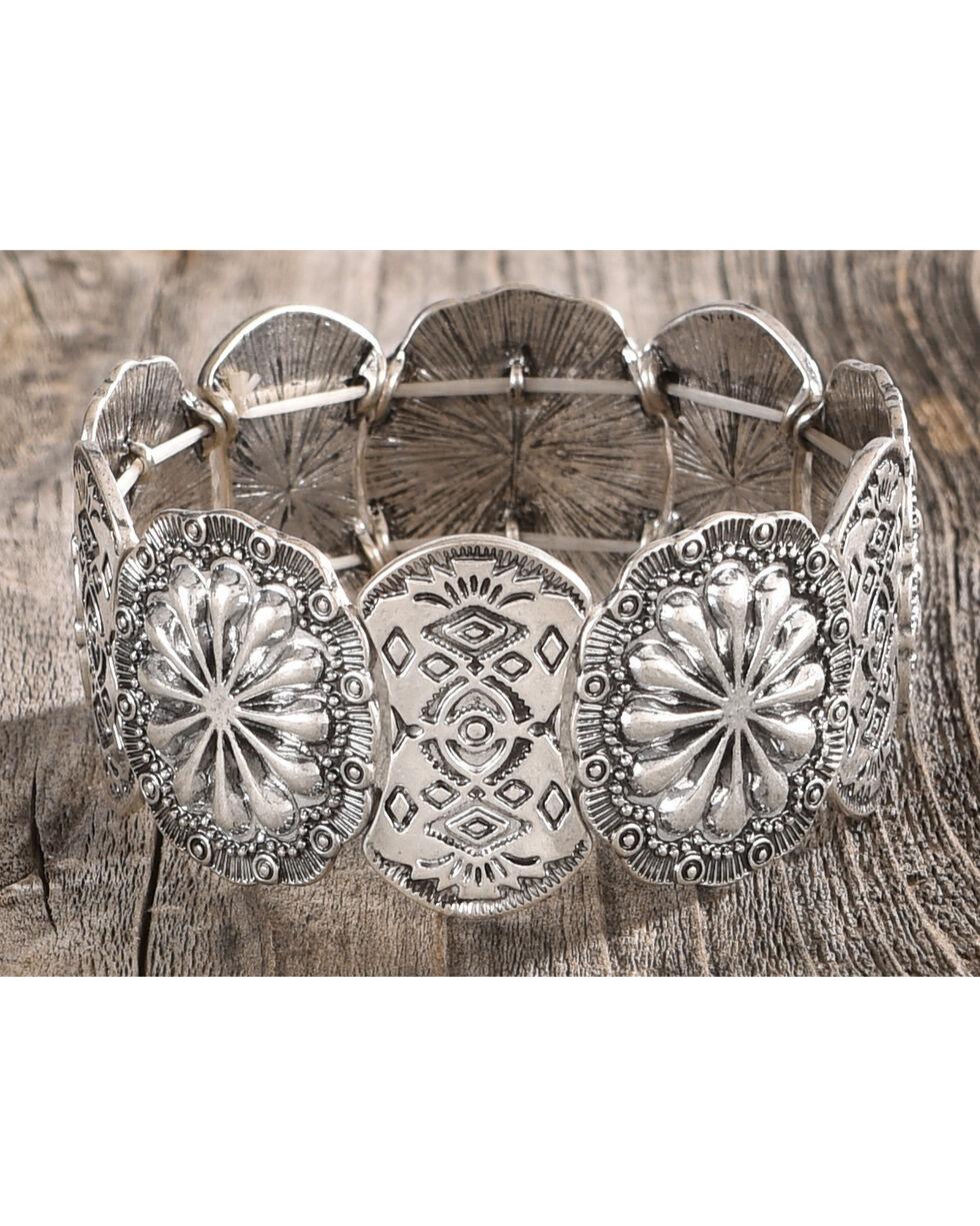 Shyanne Women's Medallion Stretch Bracelet, Silver, hi-res