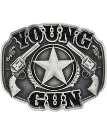 Montana Silversmiths Kid's Young Gun Attitude Buckle, , hi-res