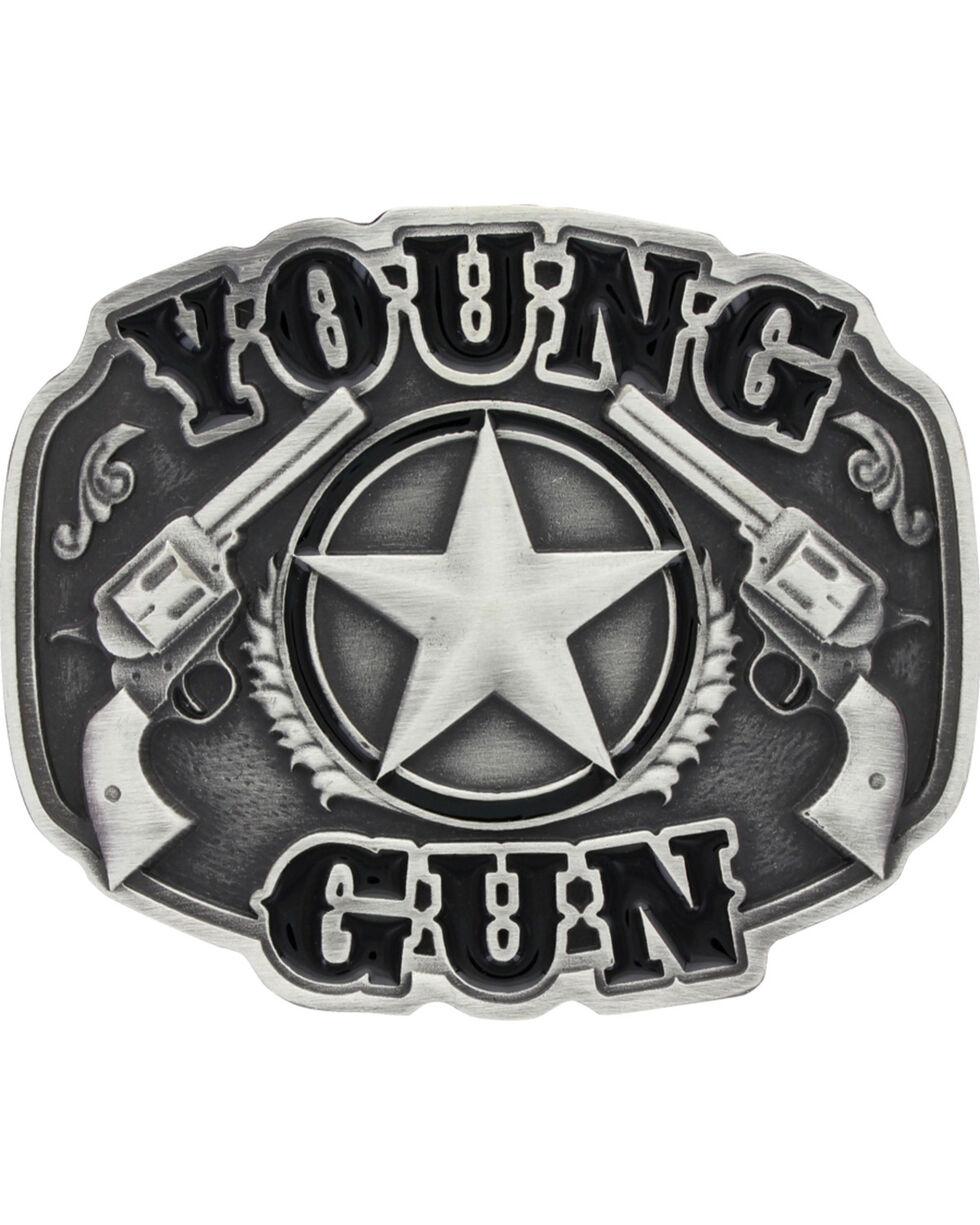 Montana Silversmiths Kid's Young Gun Attitude Buckle, Silver, hi-res