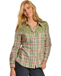 Red Ranch Women's Crochet Flannel Green Plaid Shirt, , hi-res