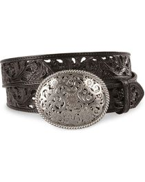 Tony Lama Black Filigree Leather Belt, , hi-res