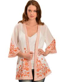 Truly 4 You Orange Embroidered Kimono , , hi-res