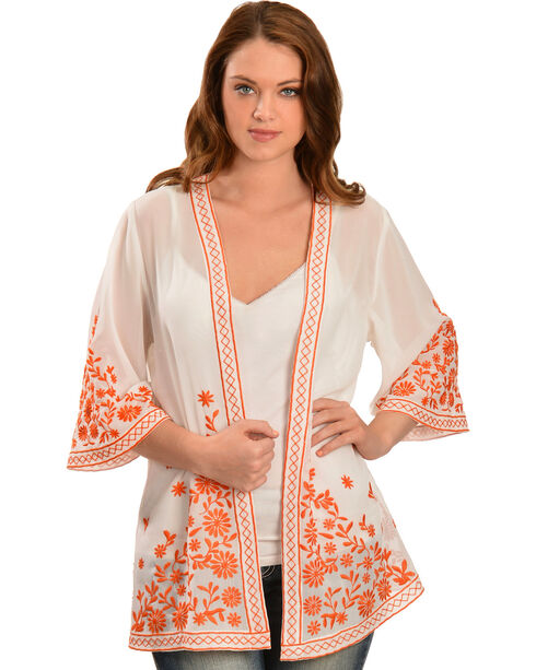 Truly 4 You Orange Embroidered Kimono , Ivory, hi-res