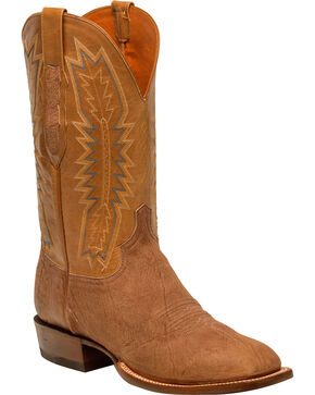 Lucchese Men's Hunter Tan Sueded Sheep Horseman Western Boots - Square Toe, Tan, hi-res