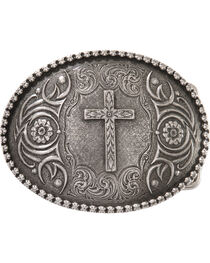 Montana Silversmiths Cross Antiqued Belt Buckle, , hi-res