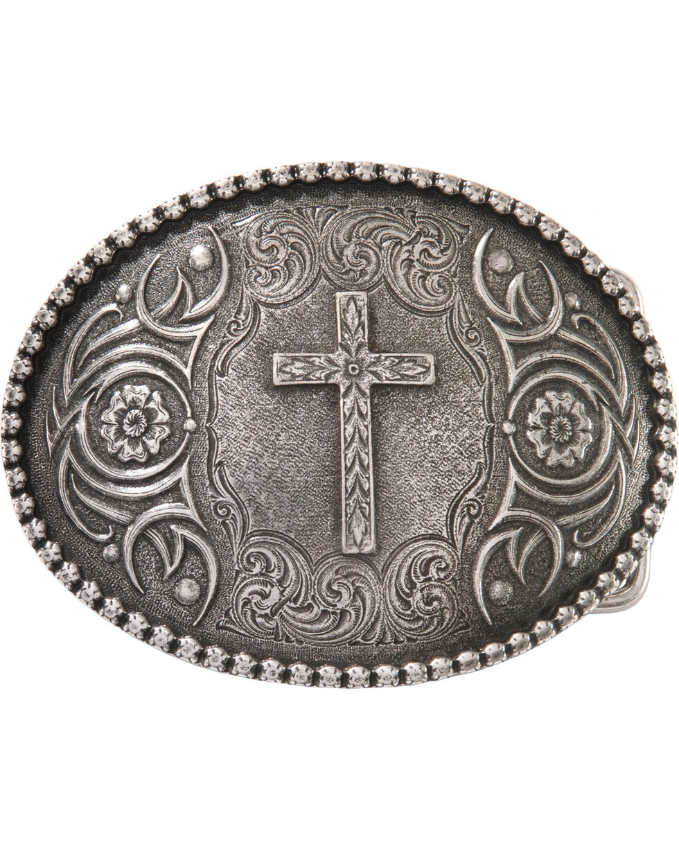 Montana Silversmiths Cross Antiqued Belt Buckle, Silver, hi-res