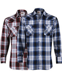 Ely Cattleman Men's Assorted Dobby Plaid Long Sleeve Shirt, , hi-res