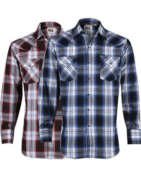 Ely Cattleman Men's Assorted Dobby Plaid Long Sleeve Shirt, Multi, hi-res