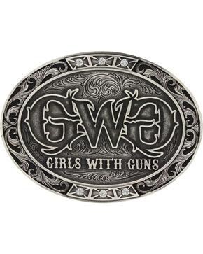 Montana Silversmiths Women's Silver Girls With Guns Belt Buckle, Silver, hi-res