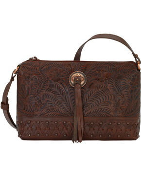 American West Women's Dove Canyon Crossbody Bag, Chestnut, hi-res