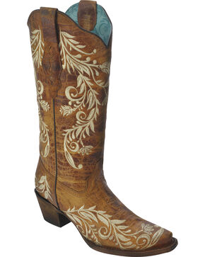 Corral Women's Wild Flower Embroidered Western Boots, Tan, hi-res