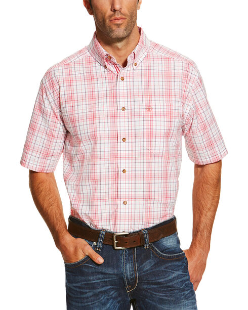 Ariat Men's Coral Nolan Short Sleeve Shirt , Coral, hi-res