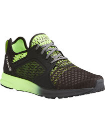 Ariat Men's Black Fuse Lime Ombre Mesh Shoes , Black, hi-res