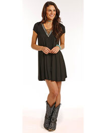 Panhandle Women's Lace Up Cap Sleeve Knit Flared Dress, , hi-res