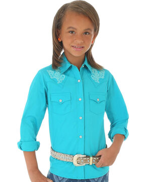 Wrangler Girls' Embroidered Long Sleeve Shirt, Turquoise, hi-res