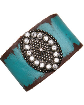 Cowgirl Confetti by AndWest Turquoise Leather Cuff with Oval Madeallion and Rhinestones, Blue, hi-res