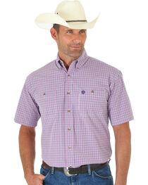 Wrangler George Strait Men's Pink and Navy Plaid Short Sleeve Shirt - Big & Tall , , hi-res