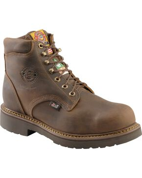 "Justin Men's 6"" Rugged Steel Toe Work Boots, Bay Apache, hi-res"