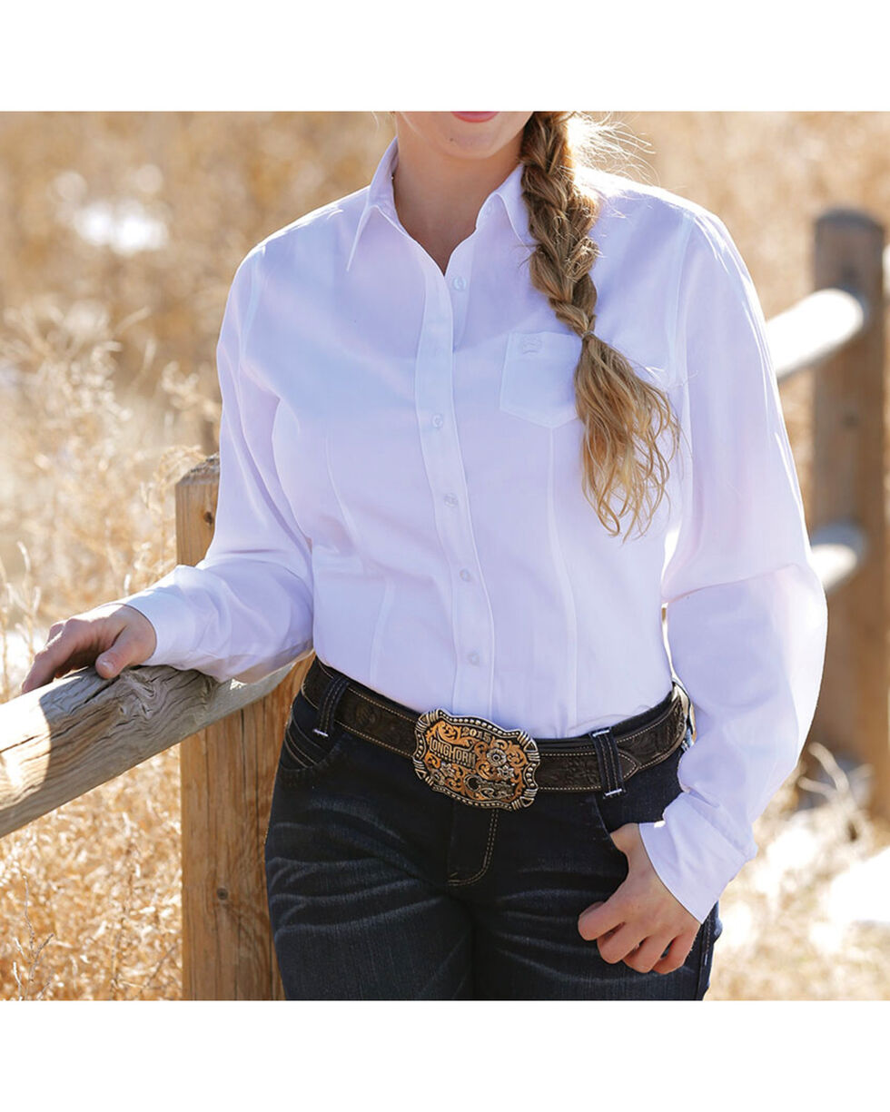 Cinch Women's Solid White Button Down Western Shirt, White, hi-res