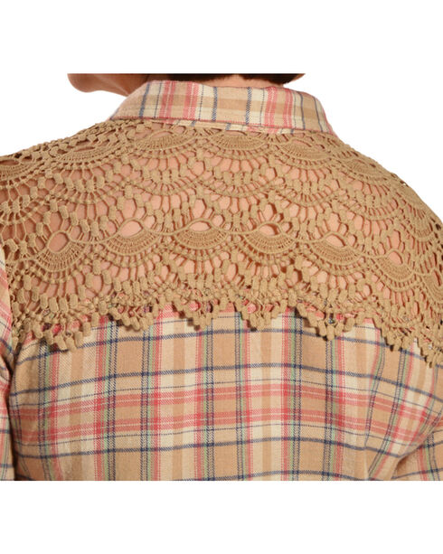 Red Ranch Women's Long Sleeve Crochet Flannel Tan Plaid Shirt - Plus, Tan Plaid, hi-res
