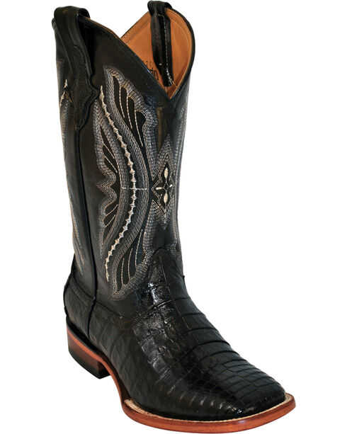 Ferrini Men's Belly Caiman Crocodile Exotic Western Boots, Black, hi-res